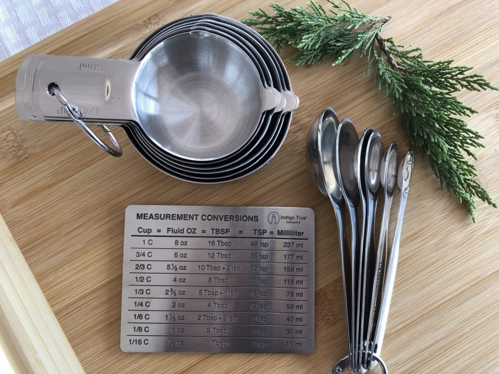 Stainless Steel Measuring Cups Spoons Measurement Conversions Magnet Indigo True